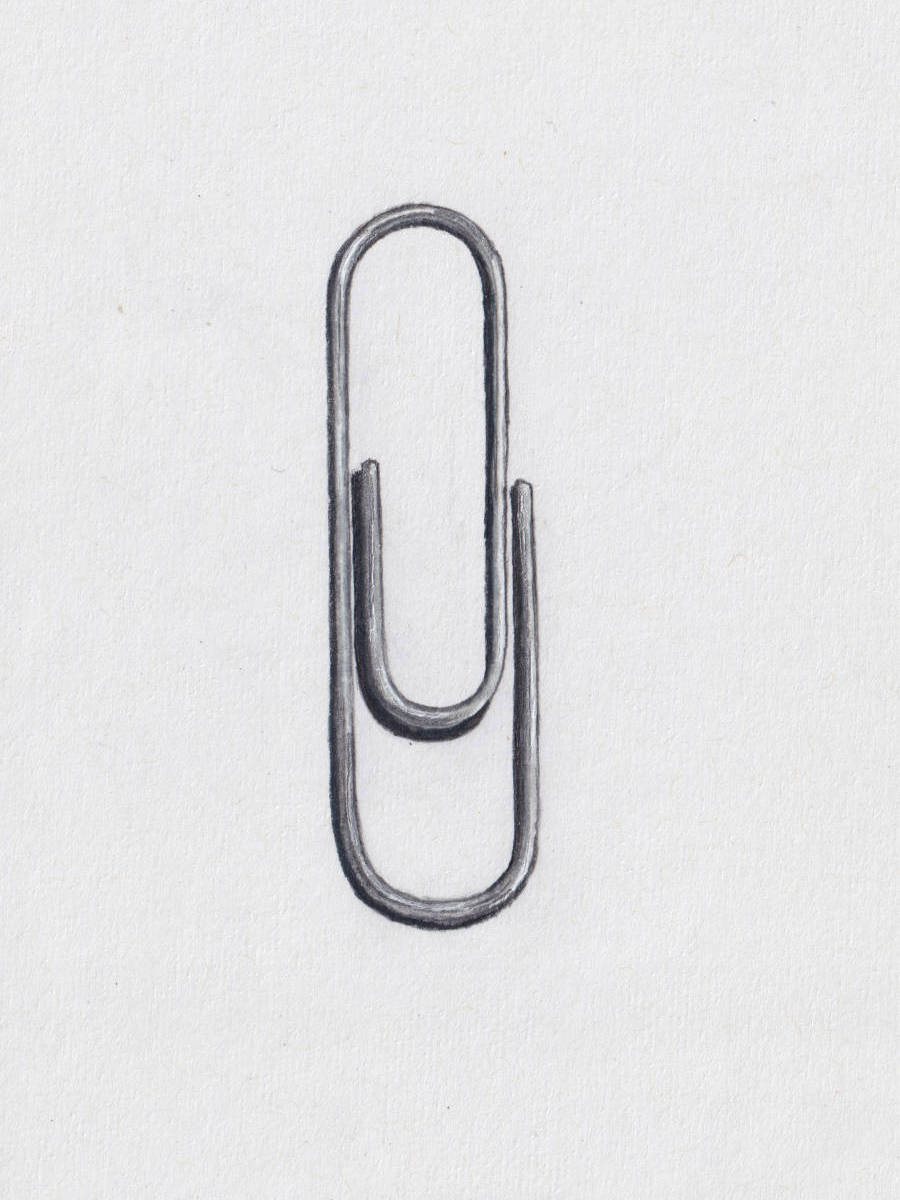 Paper Clip. Colored pencil illustration in sketchbook
