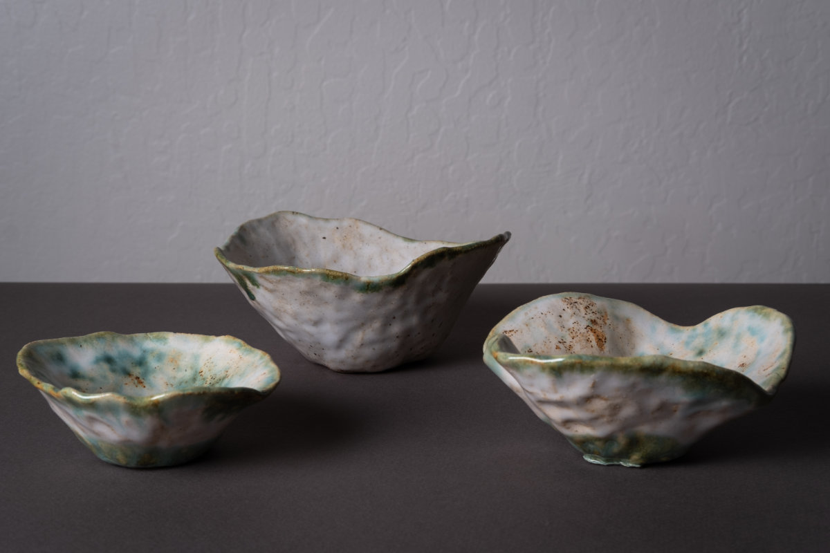 Three Handbuilt Bowls. Ceramic