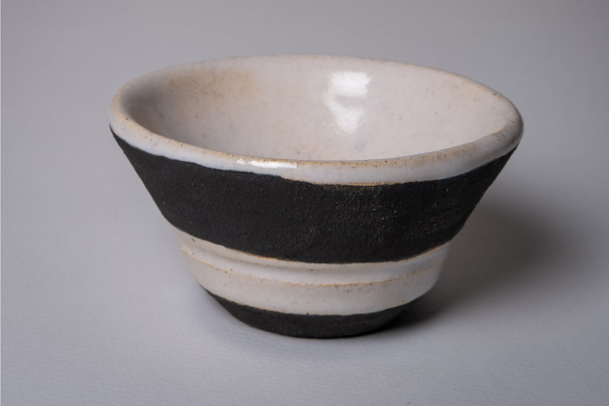 Thrown Bowl. White and Black. Ceramic