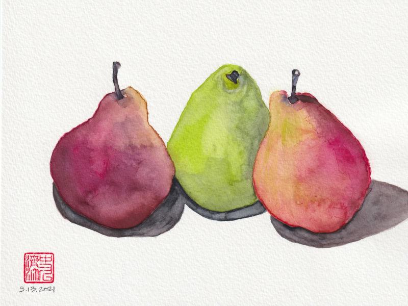 Trio of Pears, watercolor portrait